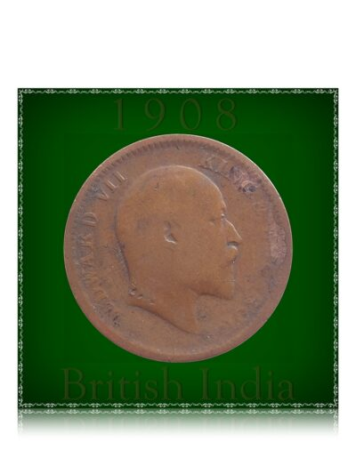 1908 1/4 Quarter Anna King Edward VII Calcutta Mint