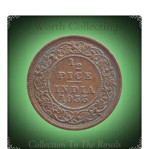 1935 1/2 Half Pice British India King George V