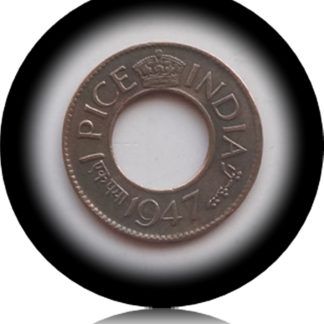1947 1 Pice British India Coin with the Hole