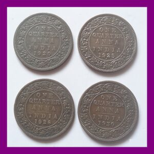 1920 1925 1926 1930 British India King George V Quarter Anna - 4 Coins