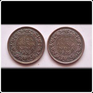 1939 1 PIE 1/12 Anna British India King George VI - 2 Coins