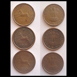 1950 1951 1953 1 pice Republic India - Galloping Horse value worth