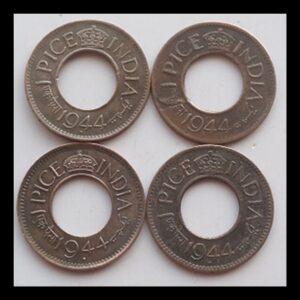 1944 1 pice George VI Bombay & Calcutta Mint - 4 coins