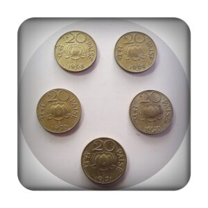 1968 1969 1870 1874 20 PAISE LOTUS COINS