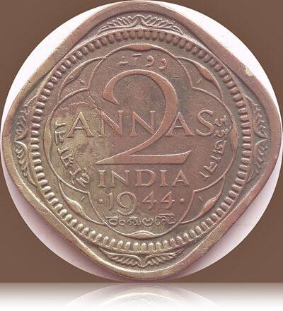 1944 2 Annas British India King George VI
