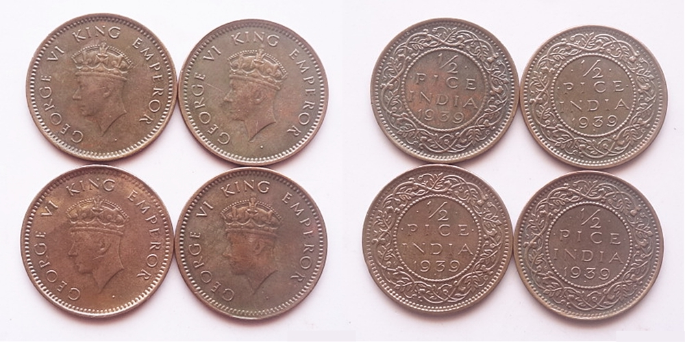 1939 1/12 Pice King George VI - 4 Coins