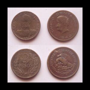 1943 1972 CENTAVOS & PESOS 2 COINS