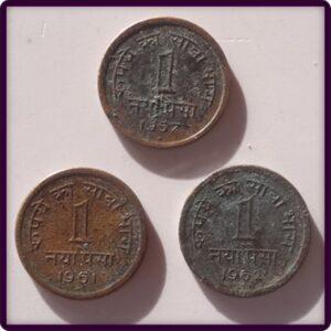 1957 1961 1962 1 ek naya paisa  3 coins