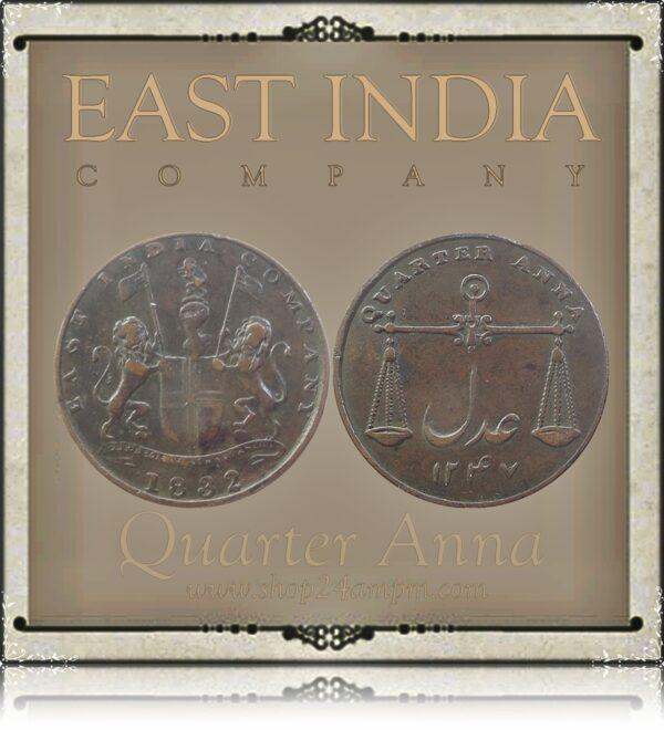 1832 1/4 Quarter Anna Coin East India Company - RARE COIN