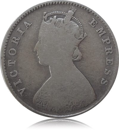 1887 1/2 Half Rupee British India Queen Victoria Calcutta Mint Incused