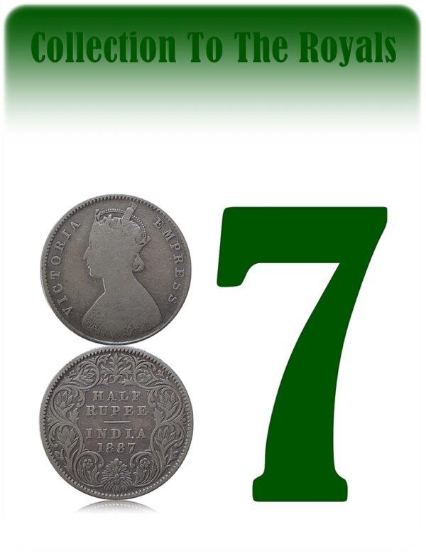 1887 1/2 Half Rupee British India Queen Victoria Calcutta Mint Incused