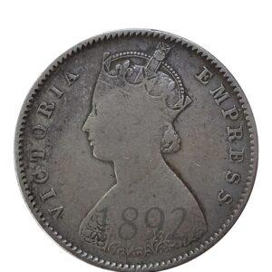 1892 1/2 Half Rupee British India Queen Victoria