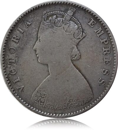 1892 1/2 Half Rupee British India Queen Victoria