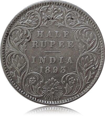 1893 1/2 Half Rupee British India Queen Victoria Bombay Mint Incused - RARE