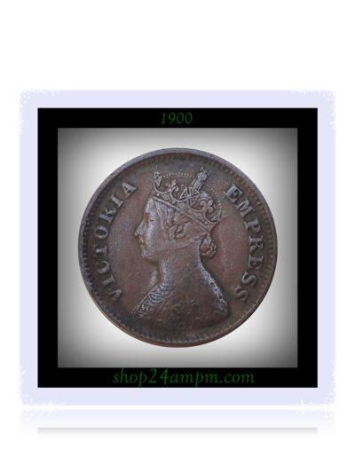1900 1/2 Half Pice Coin British India Queen Victoria