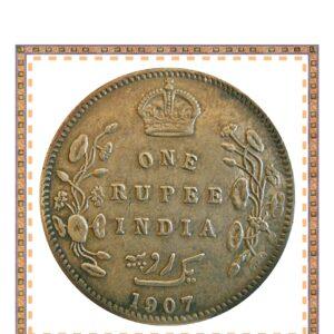 1907 1 One Rupee Silver Coin British India King Edward VII - RARE