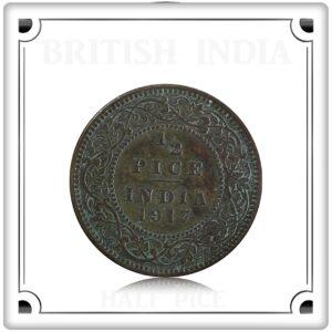 1917 1/2 Half Pice Coin British India King George V