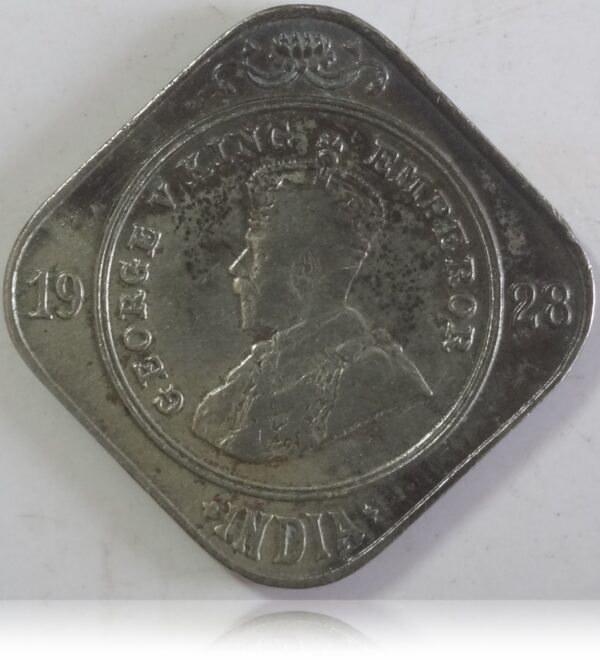 1928 Two Annas Coin British India King George V Bombay Mint