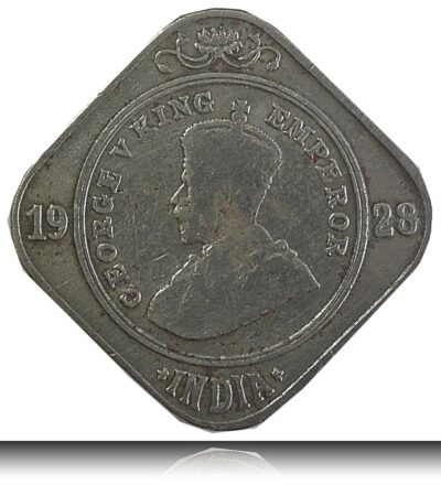 1928 2 Annas Coin British India King George V