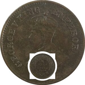 1934 1/2 Half Pice British India King George V