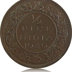 1939 1/2 Half Pice British India King George V Calcutta Mint - Best Buy