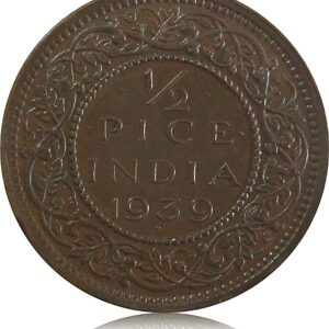 1939 1/2 Half Pice British India King George V Calcutta Mint - Best Buy