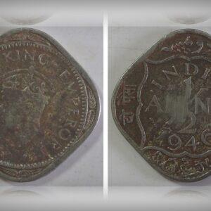 1946 1/2 Half Anna British India King George VI