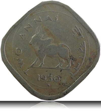 1950 GOVERNMENT OF INDIA  TWO ANNAS BULL COIN