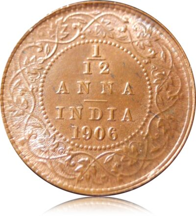 1906 1/12 Twelve Anna  British India King Edward VII  Class Copper Coin