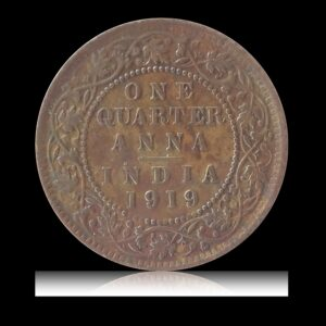 1919  1/4  Quarter Anna  King George V Calcutta Mint