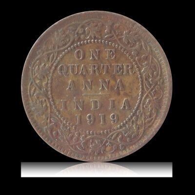 1919 1/4 Quarter Anna King George V Calcutta Mint