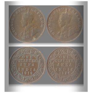 1919 1920 1/4 Quarter Anna British India King