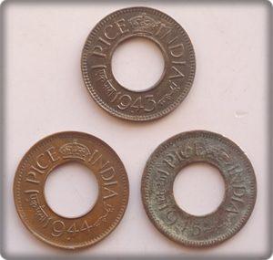 1943 1944 1945 1 PICE - 3 COINS George VI