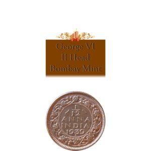 1939 1/12Twelve Anna British IndiaKing George VI II Head Bombay Mint