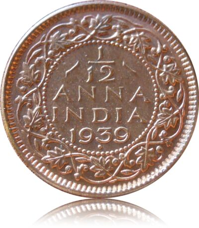 1939 1/12 Twelve Anna  British India King George VI II Head Bombay Mint