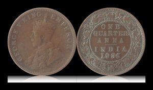 1935 1/4 Quarter Anna British India King Goerge V Calcutta Mint - Best Buy