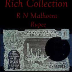 "1981 A-43 1 Rupee Note Sign by R N Malhotra Ending number ""999"