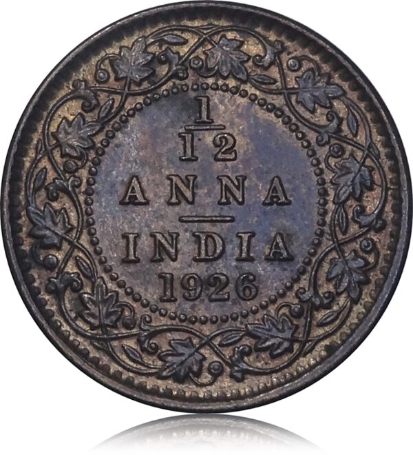 1926  1/2 Twelve Anna British India King George V Calcutta Mint