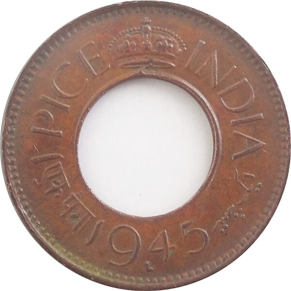 1945 1 Pice Hole coin British India King George VI Lahore Mint - RARE