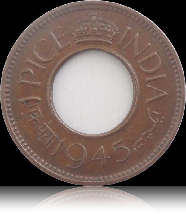 1945 1 Pice Hole coin British India King George VI Calcutta Mint
