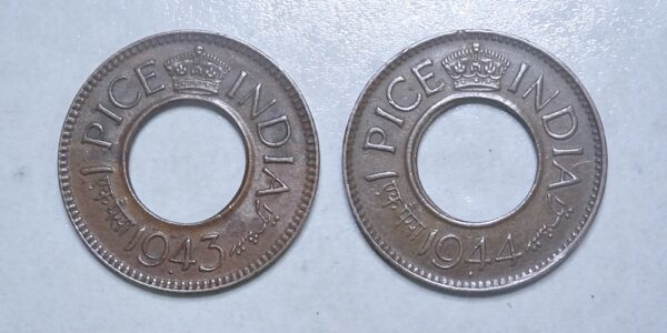 1943 1 Pice Hole Coin British India King George VI Bombay Mint