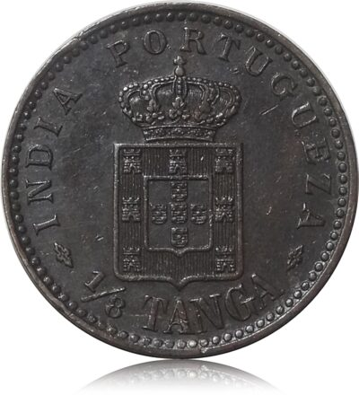 1901   1/8 Tanga Carlos Indian Portuguese Coin