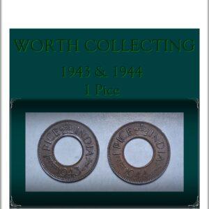 1943 1944 1 Pice Hole Coin British India King George VI