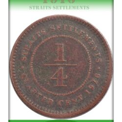 1916 1/4 Quarter Cent King George V Straits Settlements  Coin