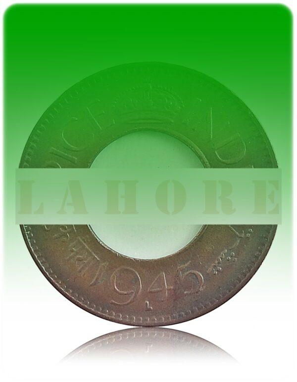 1945 1 Pice Hole coin British India King George VI