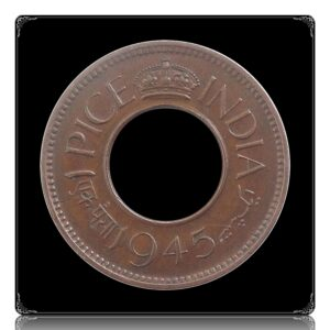 1945 1 Pice Hole coin British India King George VI Calcutta Mint