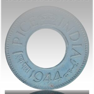 1944 1 Pice Hole coin British India King George VI Bombay Mint