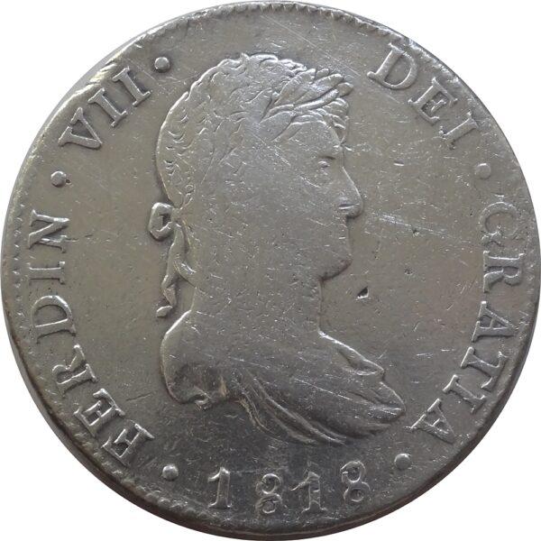 8 Reales 1818, King Fernando VII Silver Coin