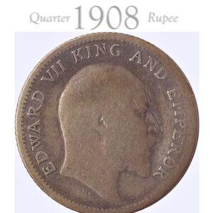 1908 1/4 Quarter Rupee Silver Coin British India King Edward VII