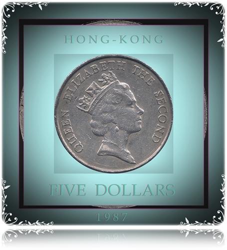 1987 5 Five Dollars - Hong Kong Coin